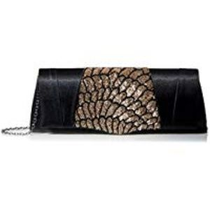 La Regale Satin Flap Clutch with Partial Beads